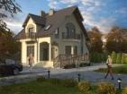 Проект просторного красивого дома с цоколем и мансардой